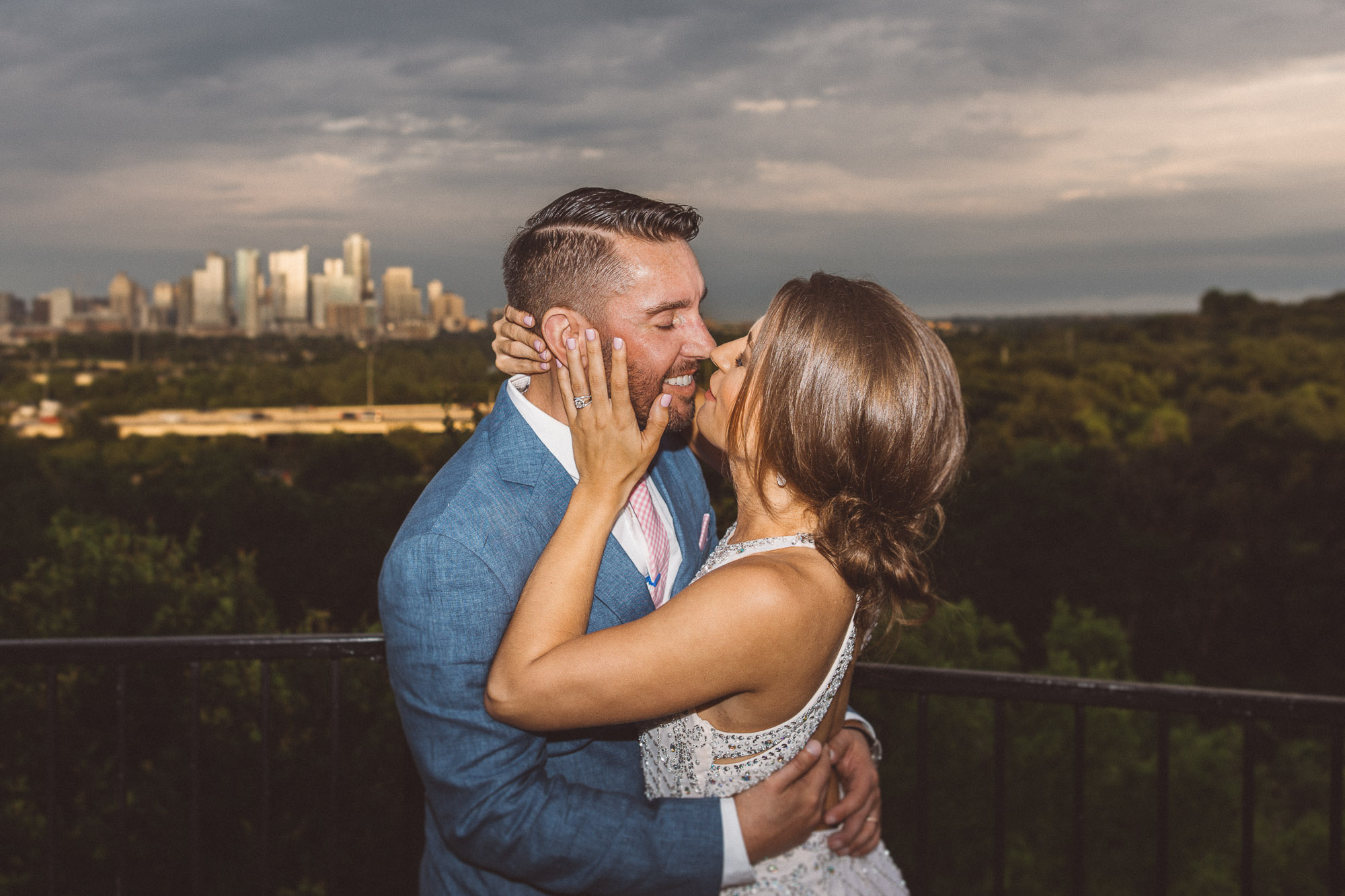 zilker park clubhouse austin texas wedding photographer portraits bride smiling groom happy joy pink tie blue suit dapper