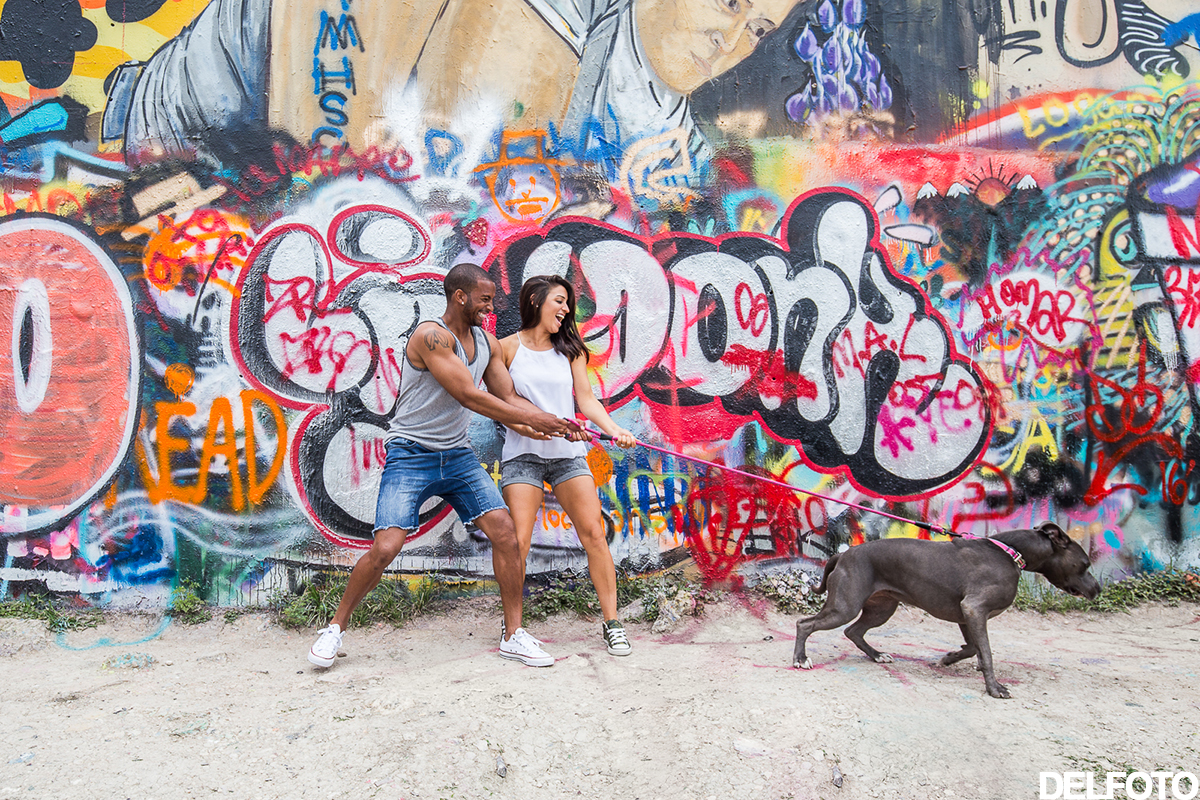south congress austin texas engagement portrait graffiti park castle hill dog pitbull
