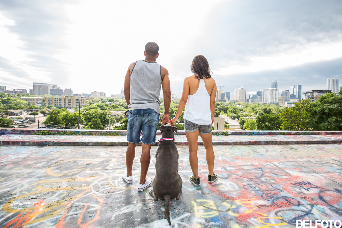 south congress austin texas engagement portrait graffiti park castle hill dog pitbull city view landscape