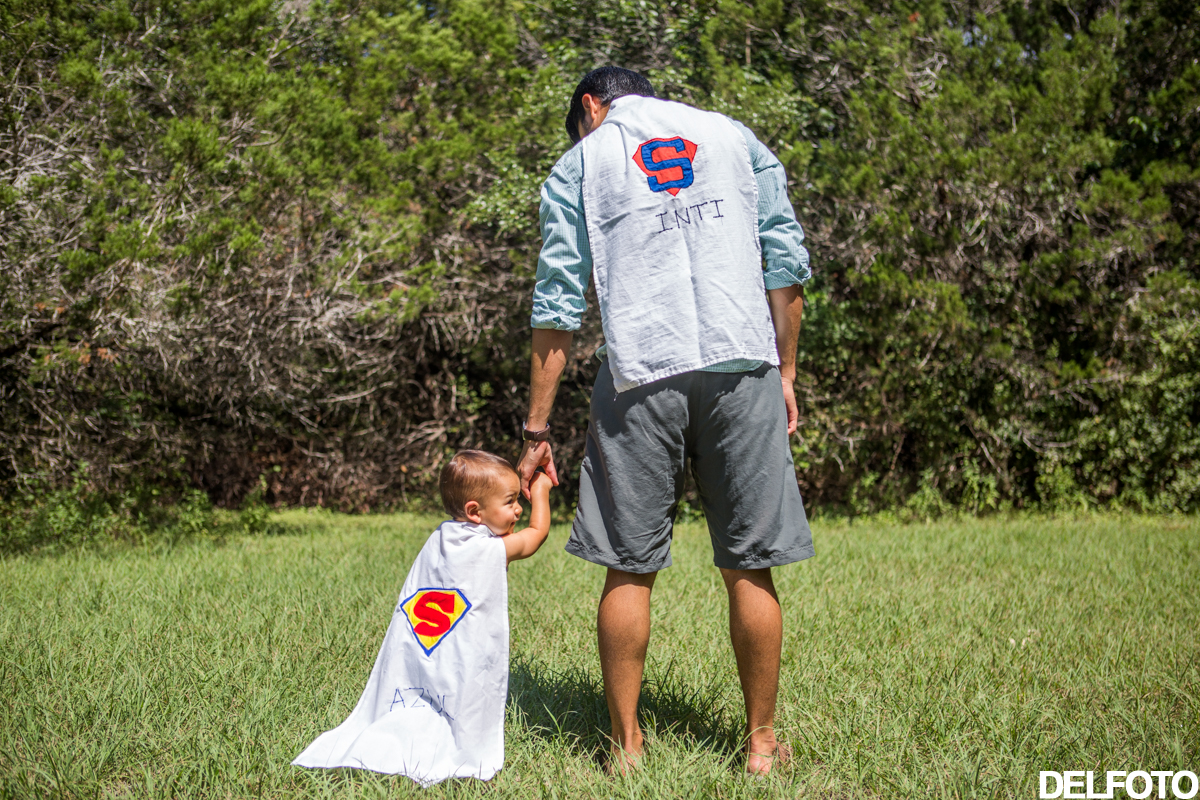 Austin Texas Portrait Photography Child Infant Baby Dad Cape Superhero