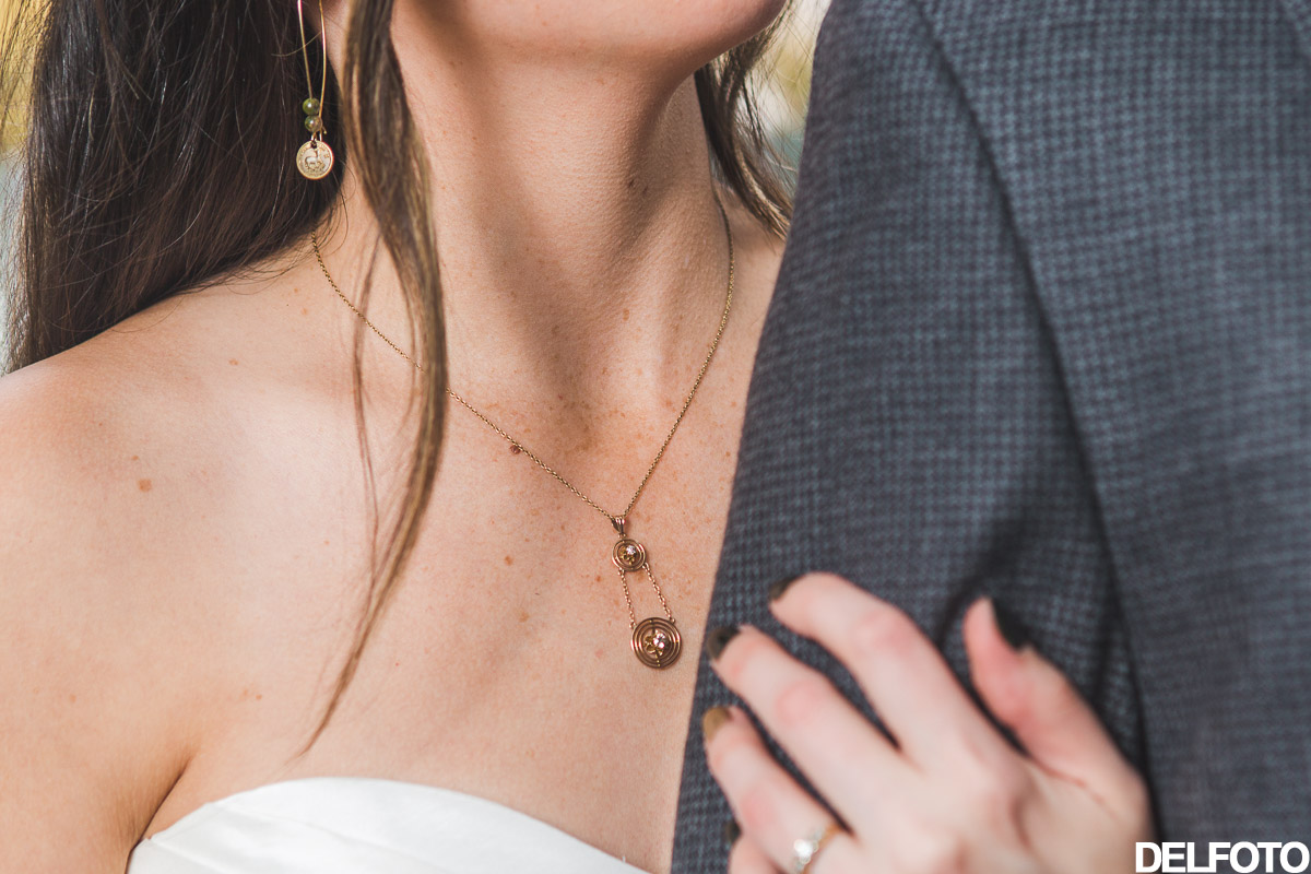 wedding details necklace earrings gold jewelry engagement rings austin texas photographer sanctuary
