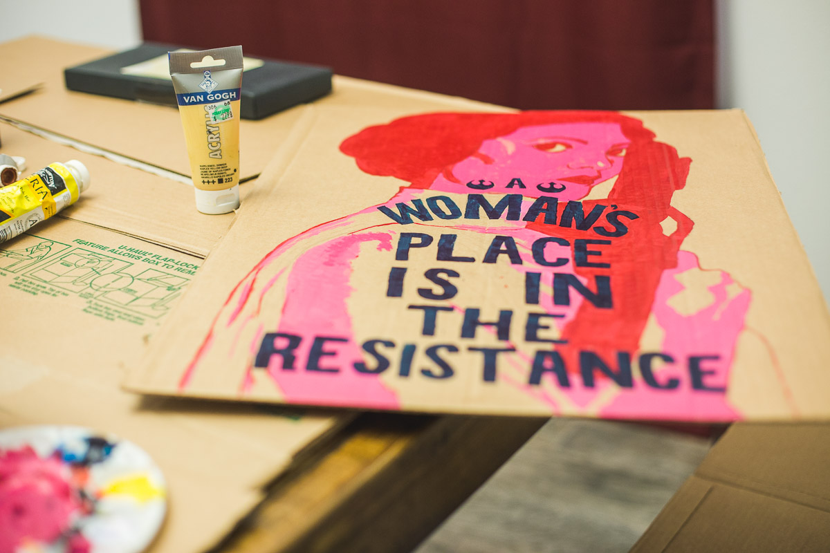 star wars womens rights handmade painted cardboard poster austin texas women's march