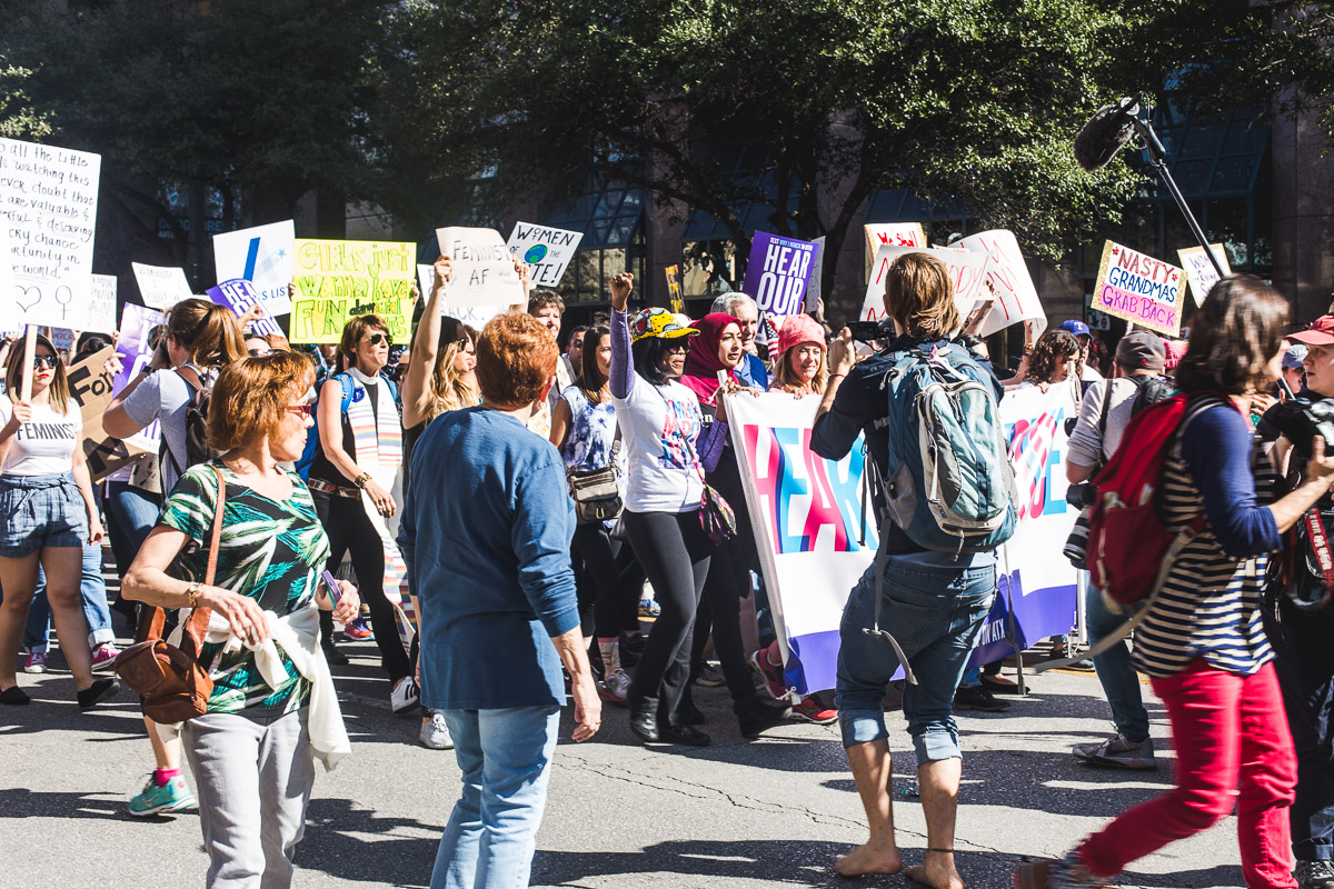 front of the women's march on austin protest