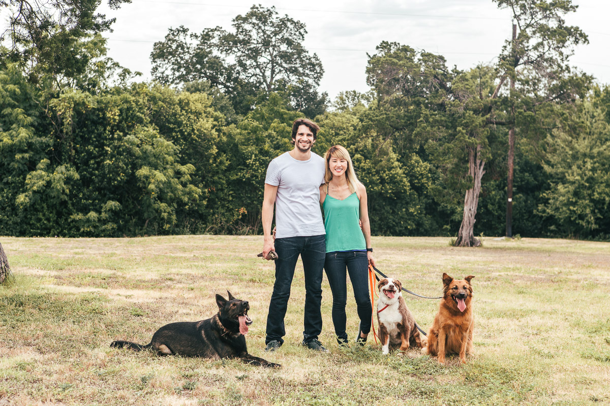 couple with pet dog family grassy field cameron park waco texas