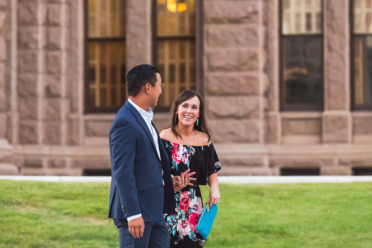 newly engaged happy joyful couple austin texas state capitol