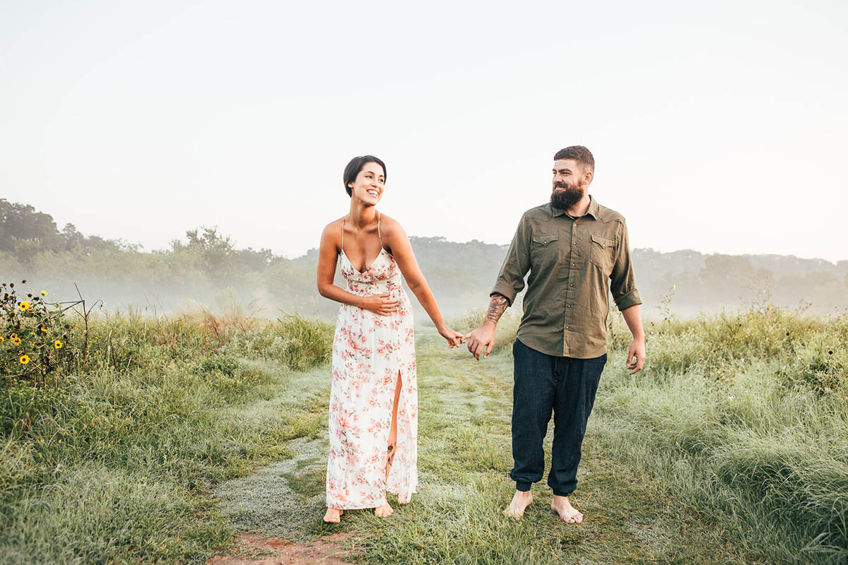 engaged couple laughing fog commons ford park engagement photography