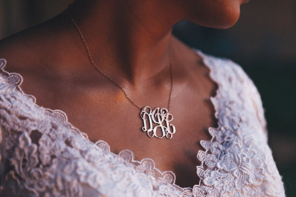 bride accessories jewelry necklace monogram initials