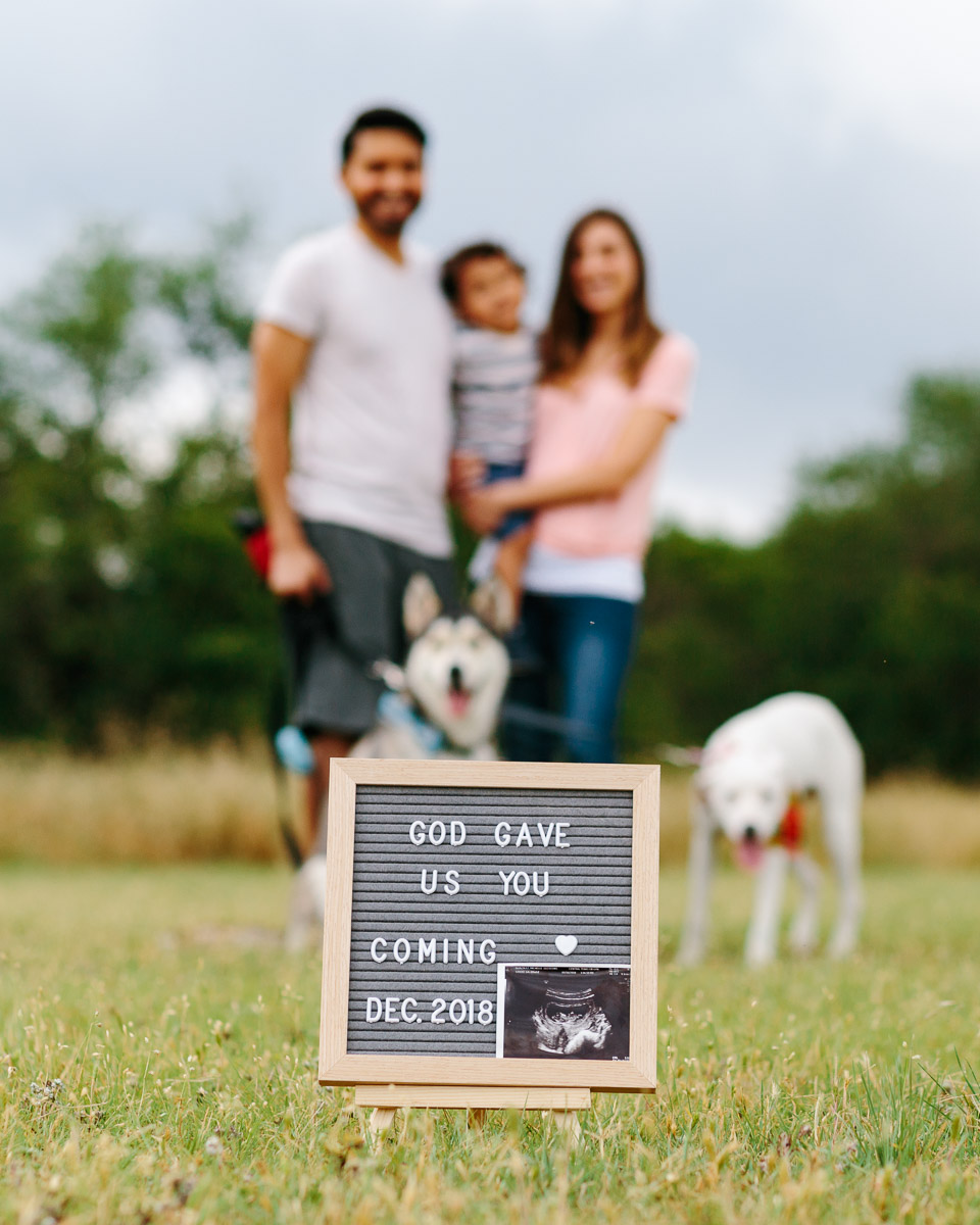 new family pregnancy announcement family portrait austin texas