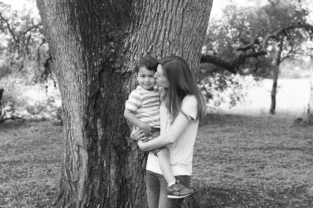 mother and son familiy portrait tree black and white film