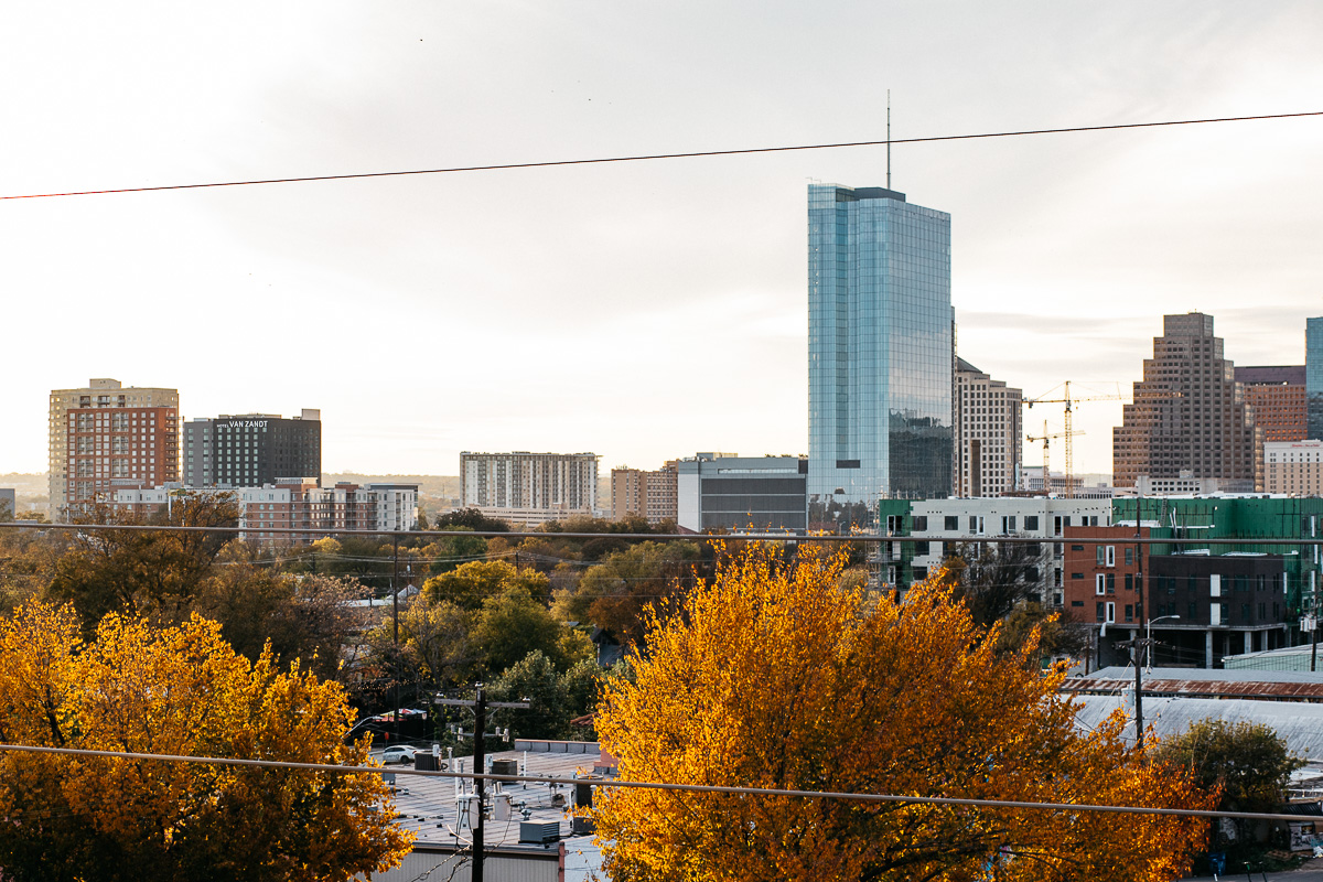 downtown austin viewed from the east side with fall foliage
